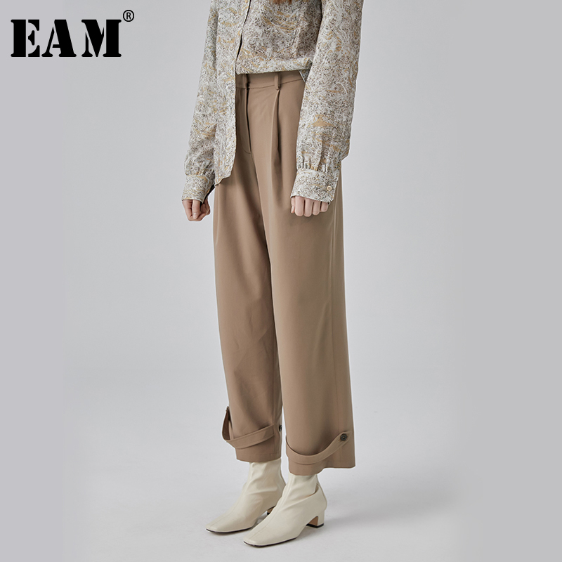 [EAM] 2019 New Spring Summer High Waist Loose Black Long Hem Buckle Split Joint   Wide     Leg     Pants   Women Trousers Fashion Tide JQ253