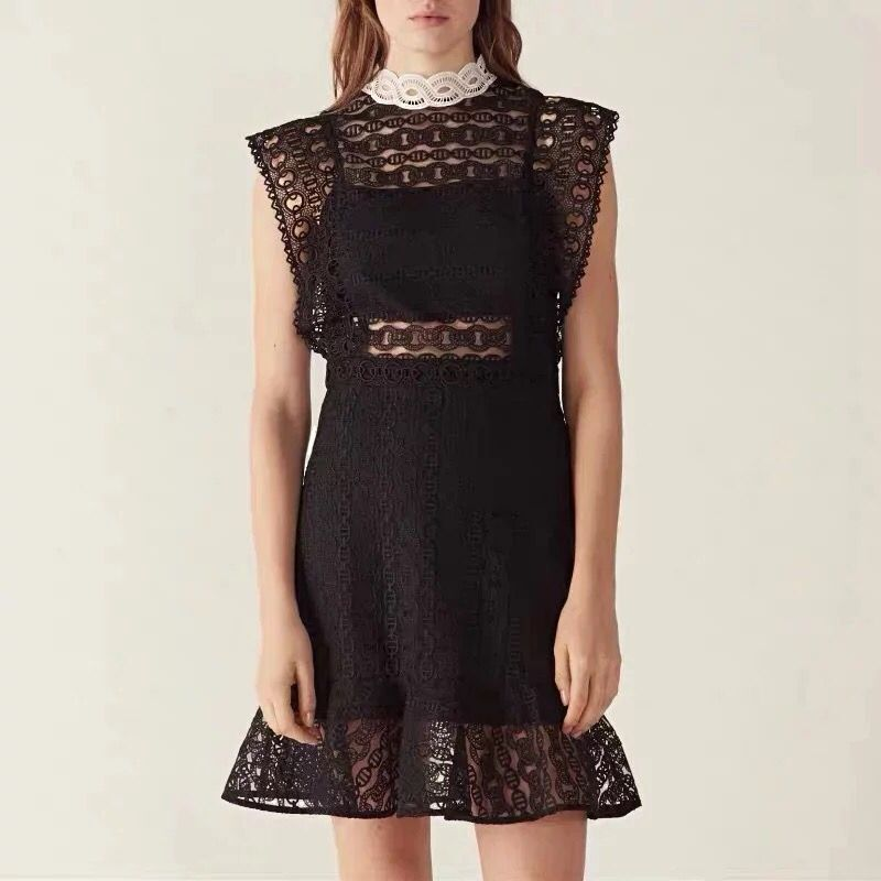 2019 New Women Black Lace Hollow Out Sexy Mini Dress