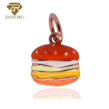 Zhaoru 100% 925 Sterling Silver Pendant Women Trendy Charm Bracelet Rose Gold Fine Hamburger