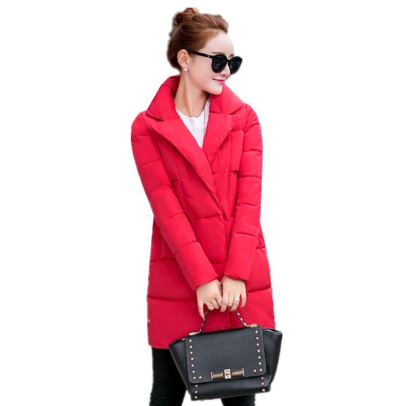 HOT 2016 New Women Winter Warm Thick Cotton Jacket Ladies Slim lapel Solid color winter Down