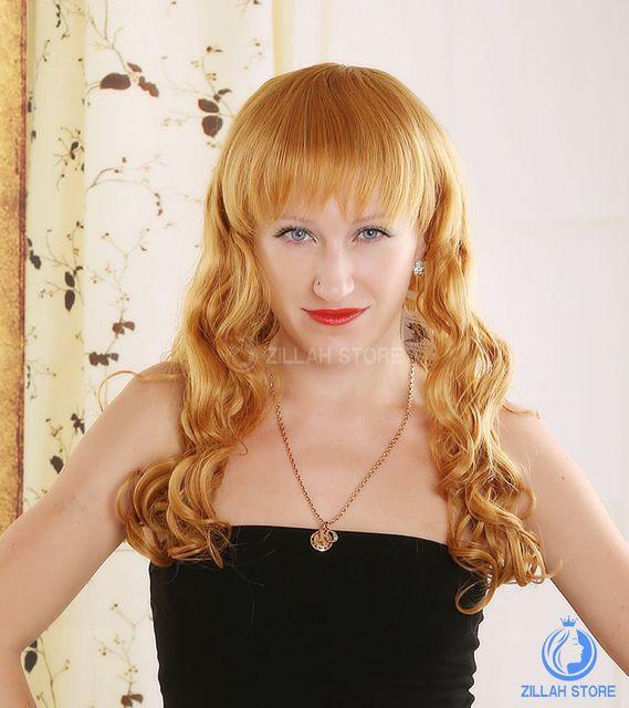 Free Shipping Hot Selling Fashion Elegant Sweet Blonde Wigs Medium Long Sexy Blonde Wigs Cheap Wavy