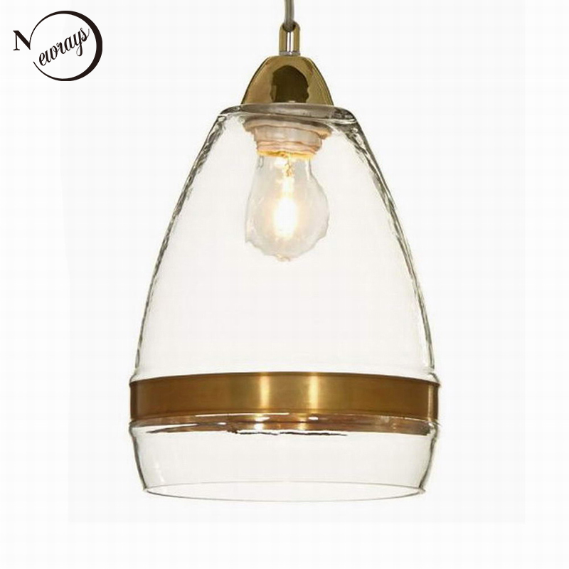 Clear antique gold glass pendant lamp For Kitchen Lights Cabinet Living dining room Edison Simple Glass Pendant Light Fixture