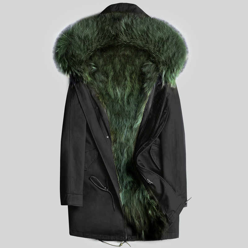 c140fa19427b6 AYUNSUE Real Fur Coat Men Winter Jacket Natural Raccoon Fur Coats Hooded  Warm Long Jackets Plus