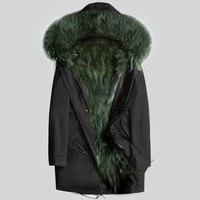 AYUNSUE натуральным мехом пальто Для мужчин зимняя куртка натуральный мех енота пальто с капюшоном теплые длинные куртки Плюс Размеры 5xl мужск