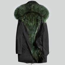 Ayunsue натуральным мехом пальто Для мужчин зимняя куртка натуральный мех енота пальто с капюшоном теплые длинные куртки Плюс Размеры 5xl мужской парки KJ811