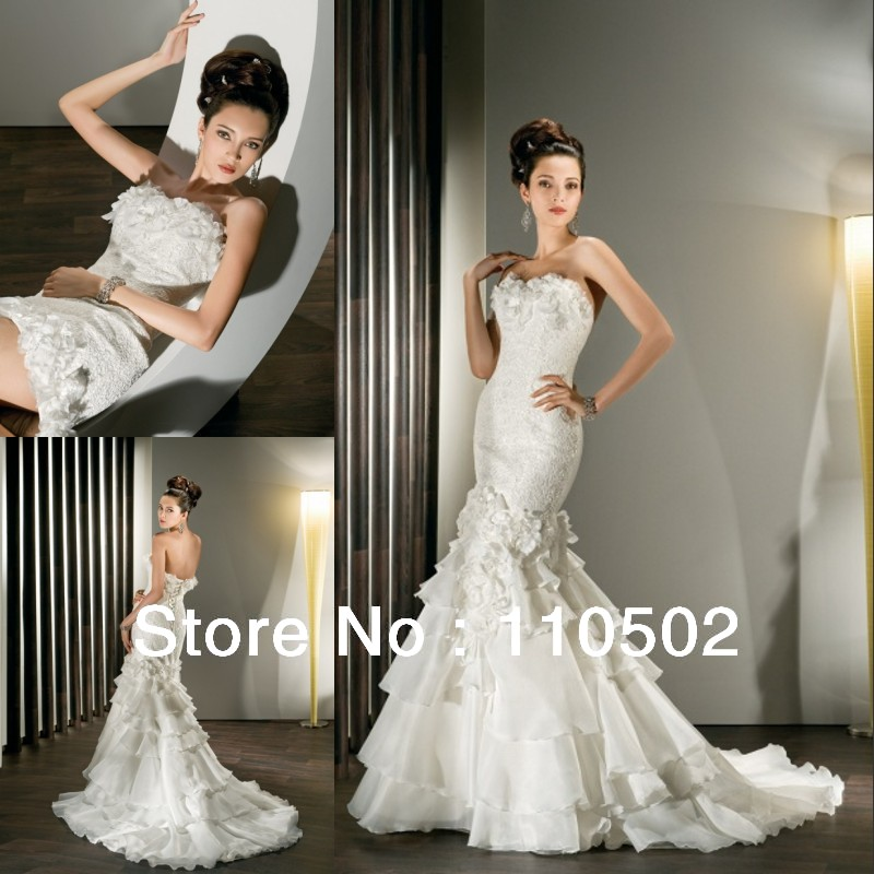 Whole Price Elegant Strapless Detachable Skirt Lace Top Mermaid Wedding Dress In Dresses From Weddings Events On Aliexpress Alibaba