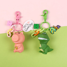 Cartoon Silicone Dinosaur Pig Keychain 3D Toy Story Car Key Chain Ring For Bag Pendant Charms Fans Gift