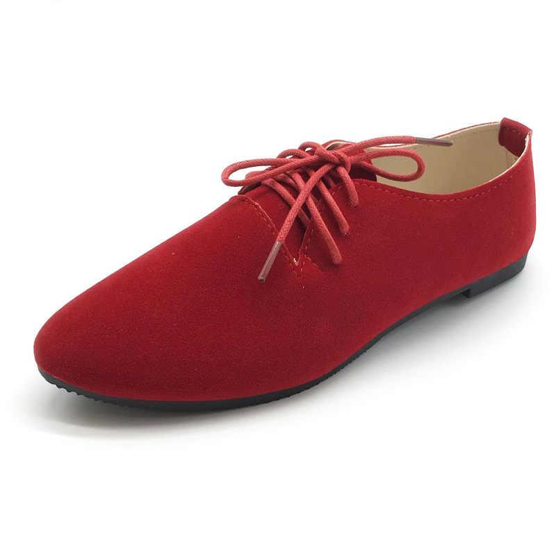 2020 yeni şeker renk kadın ayakkabı artı boyutu Flats ayakkabı kadın Lace-up bahar sonbahar bayanlar ayakkabı Zapatos Mujer boy 41 42 WSH2343