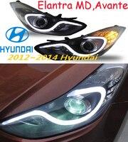 Car Styling Elantra Headlight MD Avante 2012 2015 Free Ship Elantra Fog LED 2ps 2pcs Aozoom