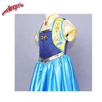 2017 karnaval kostüm Dondurulmuş Ateş Anna Çocuk Mavi Prenses Elbise cadılar bayramı Kostüm 140-150 cm olabilir W1493