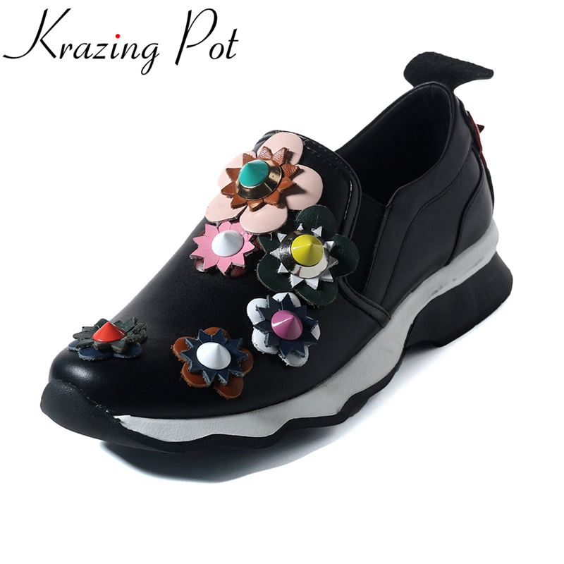 Krazing Pot genuine leather slip on rivets superstar round toe sneaker mixed colors flower causal women vulcanized shoes L33 adidas superstar shell toe fashion sneaker