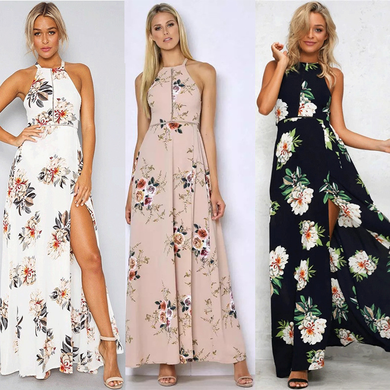 S-2XL women halter sleeveless backless dress floral print night evening party dress summer holiday casual leisure maxi dress