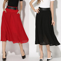 2017 New Women Spring Summer Long Skirt Europe and America Fashion Silk Brocades Temperament A-Line Skirts Black Red Adult Skirt