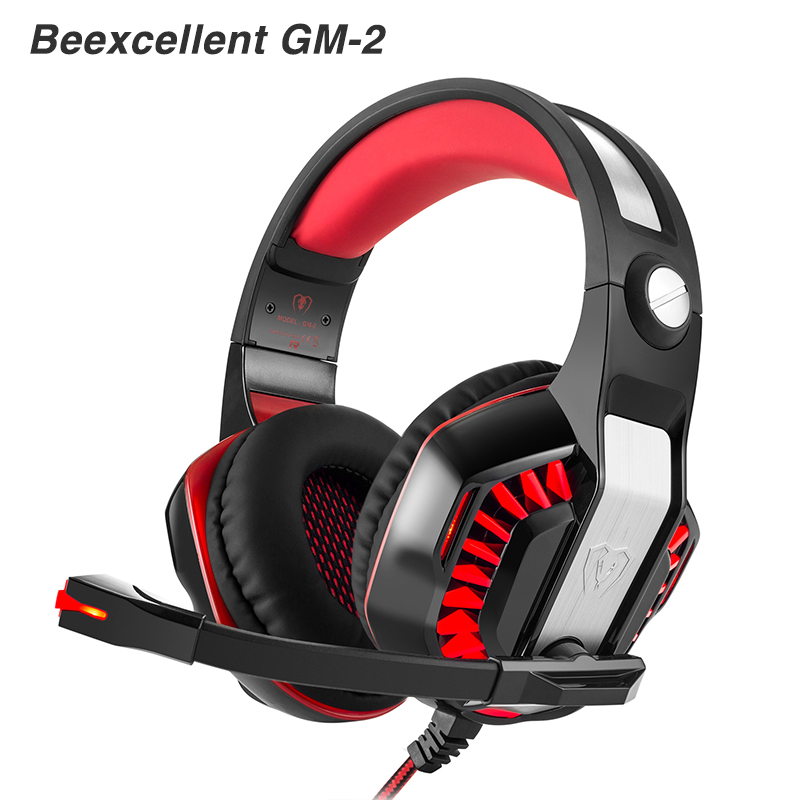 Beexcellent  GM-2 PC Gaming gamer headset Headphones Headphone Wired stereo Bass Computer with microphone LED for pc gamer lephee gaming headphones kd 450 professional pc gamer super bass headphone with microphone stereo mp3 pc game 3 5mm headset 1 2m
