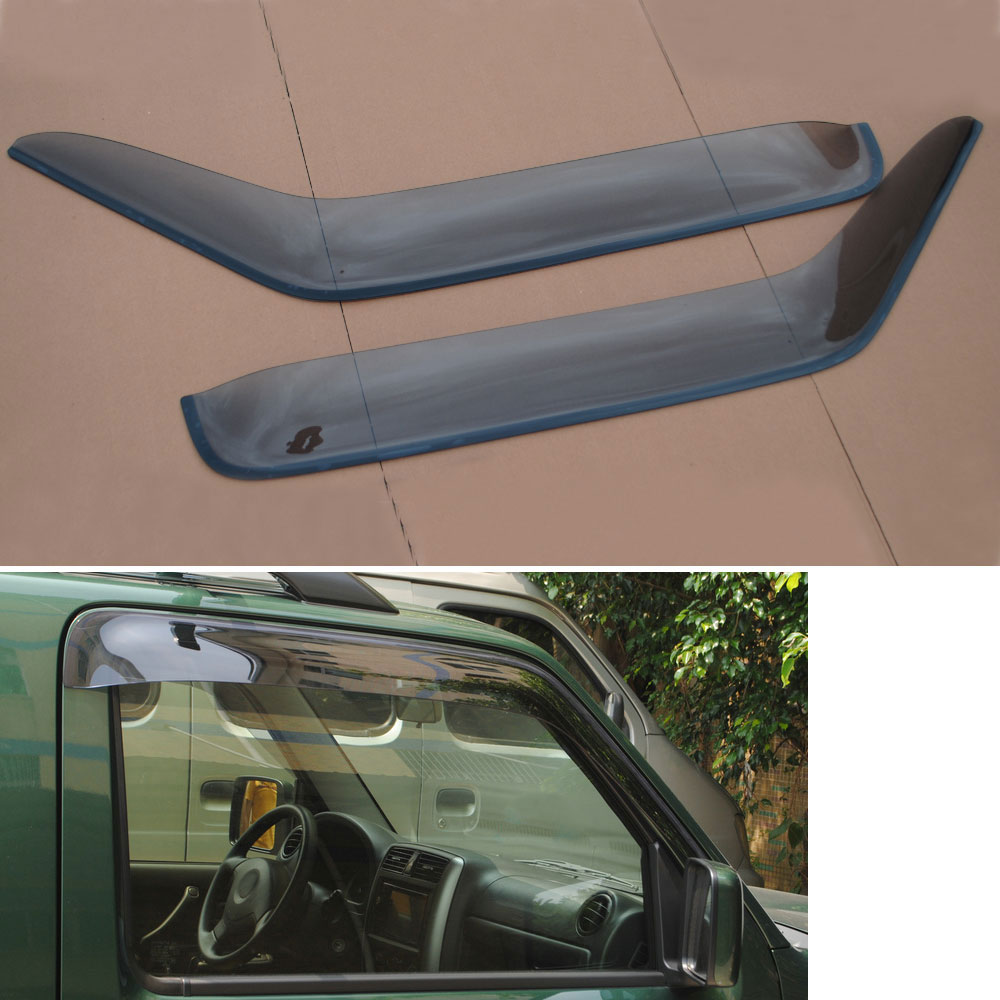 2pcs/set Front Window Deflector Vent Visor Rain Guards Shield Cover Trim For Jimny 2007-2015 Car Styling Auto Accessories 4pcs set smoke sun rain visor vent window deflector shield guard shade for vw volkswagen passat b8 2015 2016 2017