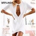 VESTLINDA Выдалбливают Sexy Белого Шифона Dress Женщины Лето С Коротким Рукавом Пляж Бальные Платья Случайные Свободные Мини Короткие Dress