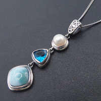 Natural Larimar 925 Sterling Silver Antique Design Blue Topaz Genuine Stone Pearl Charm Pendant for Women Gift without Chain