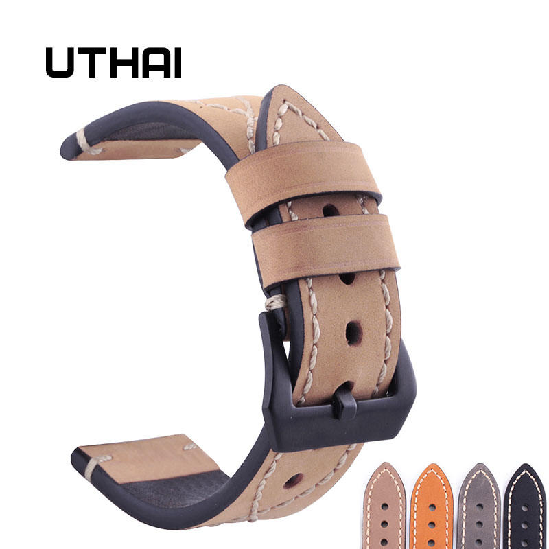 UTHAI P11 18mm 20mm 22mm 24mm High-end Retro Calf Leather Watch band Watch Strap with Genuine Leather Straps Free shipping