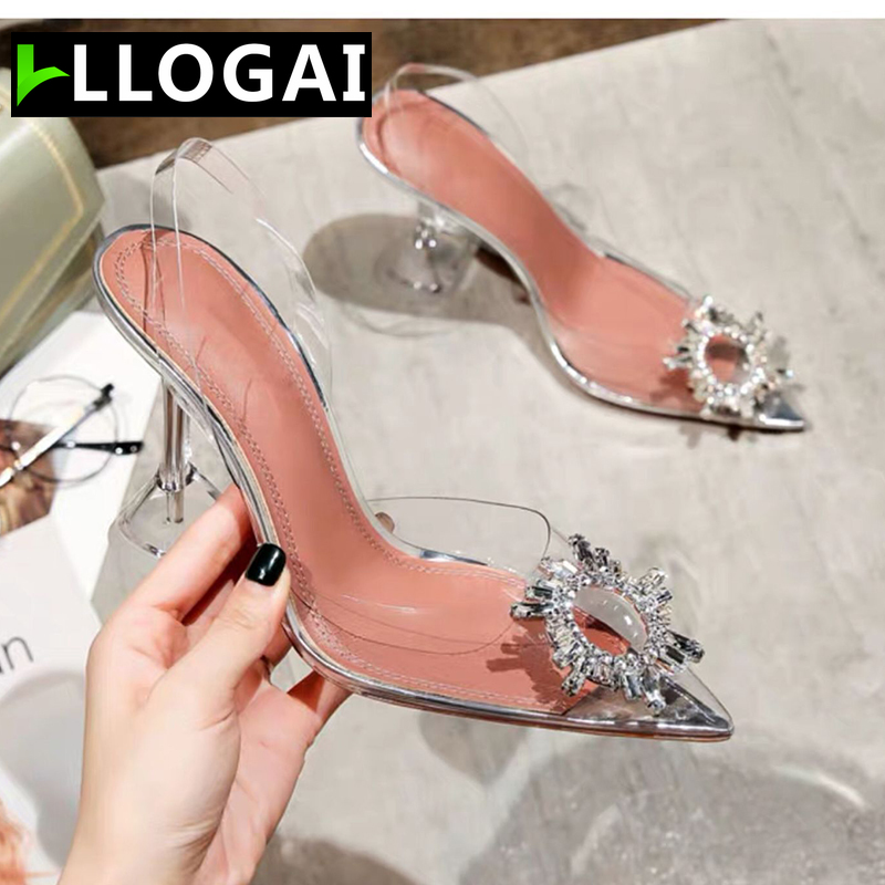 Wedding Party Shoes For Women Sandals Transparent Crystal Shoes Women High Heels Slingback Pumps Women Shoes Summer Shoes Woman