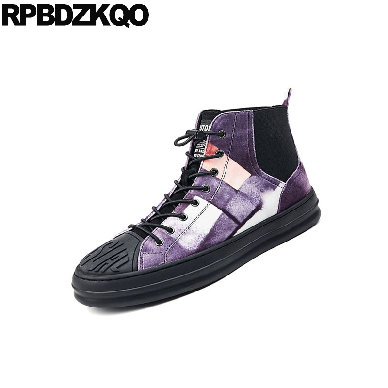 Sapatos Genuíno Plana Homens Botas Pele Lace Booties Up Quentes Curto Inverno Luxo Top Real De Alta Purple Black Couro Trainer Camurça Dos Tênis Chelsea aWWfZz