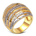 Hollow Design Women Fashion Rings Statement New look Gold Strip Pattern Top Quality Cubic Zircon Setting Lead Free Party Ring
