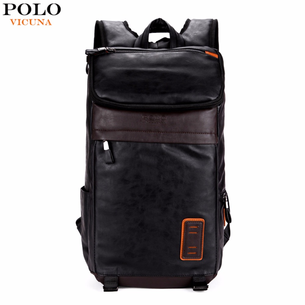цена VICUNA POLO Large Volume Casual Men Travel Daypacks Vintage Simple Patchwork Mens Leather Backpack Bag School Laptop Backpack