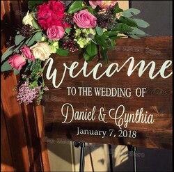 Rustykalny drewniany znak z powitaniem na wesele naklejki kraj ślub wystrój New Arrival nazwa własna data okno ścienne naklejka wodoodporna S428