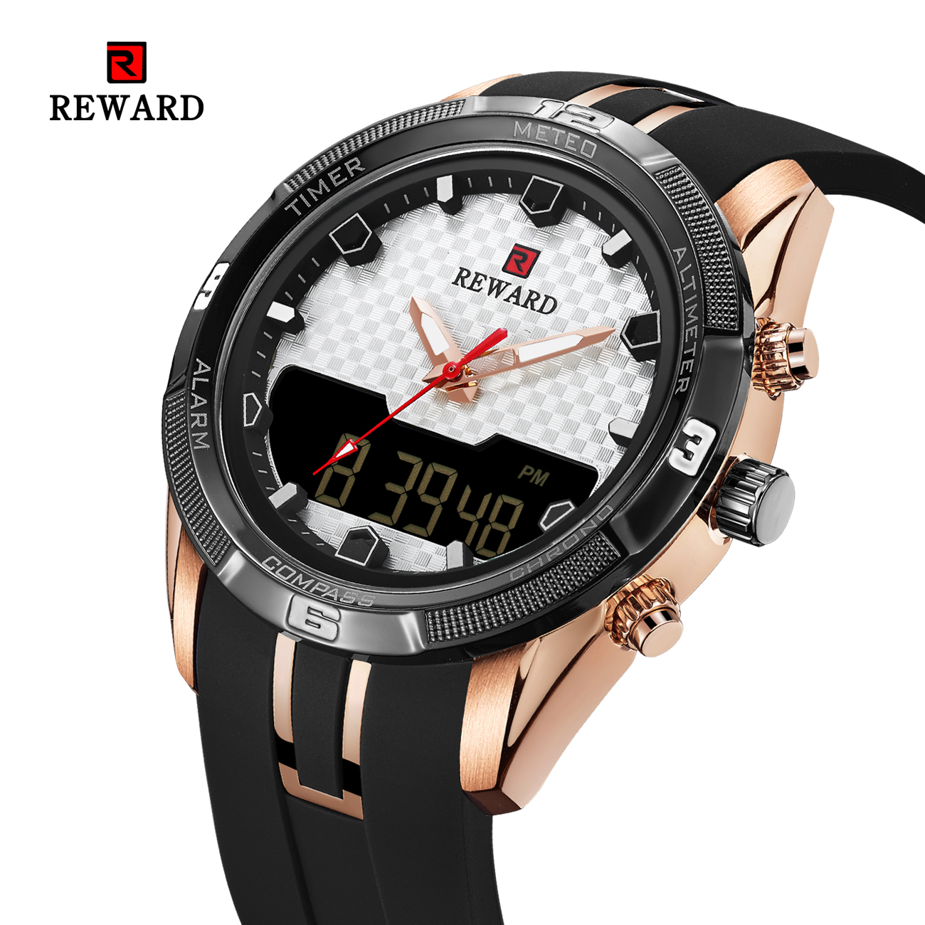 watch men military watch Suspended surface design dual display soft silicone belt  Waterproof Chronograph RD63095Mwatch men military watch Suspended surface design dual display soft silicone belt  Waterproof Chronograph RD63095M