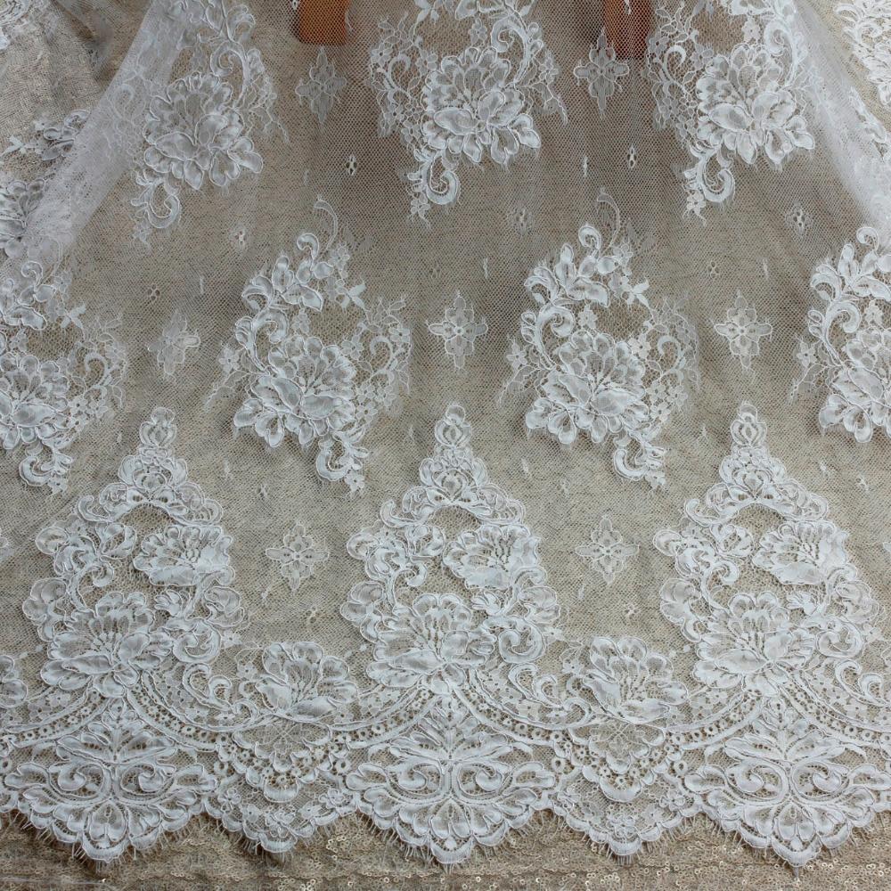 150 cm * 3 yard door stuk goede kwaliteit off white Venetië koord geborduurde Franse wimper bruids kant stof
