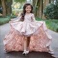 Довольно Розовый Кружевной Цветок Девушек, Платья С Длинными Рукавами Причастию Платья На Заказ Принцесса Высокий Низкий Pageant Платья Для Маленьких Девочек