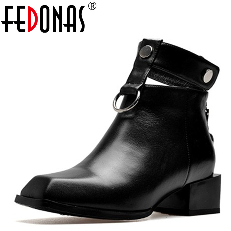 FEDONAS Women Genuine Leather Boots Square Heels Autumn Winter Ankle Boots Sexy Snow Boots Shoes Woman