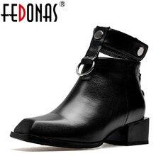 FEDONAS Frauen Stiefel Aus Echtem Leder Quadrat Heels Herbst Winter Stiefeletten Sexy Schnee Stiefel Schuhe Frau Schnallen Motorycle Stiefel