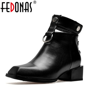 Image 1 - FEDONAS Frauen Stiefel Aus Echtem Leder Quadrat Heels Herbst Winter Stiefeletten Sexy Schnee Stiefel Schuhe Frau Schnallen Motorycle Stiefel