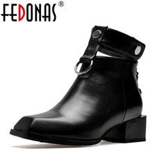 FEDONAS botas de cuero genuino de mujer tacones cuadrados Otoño Invierno botas al tobillo botas para nieve sexy zapatos de mujer hebillas botas de motocicleta