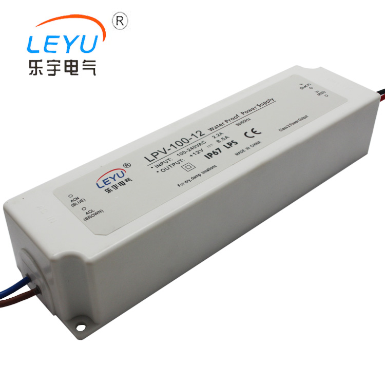 small size100w waterproof led converter  plastic class two  220v single output 12V 8.5A with CE RoHs  two years warranty