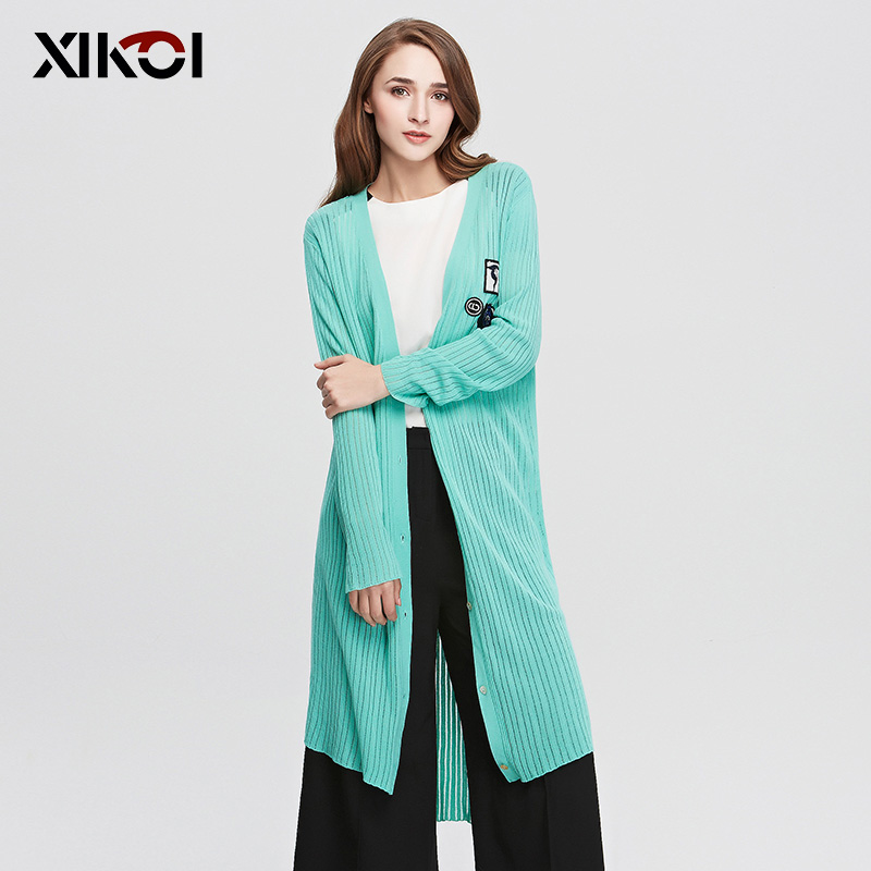 XIKOI Women Cardigans Fashion Embroidery Knitted Women Open Stitch Oversized Sweater Coat Cardigan casaquinho poncho rebeca