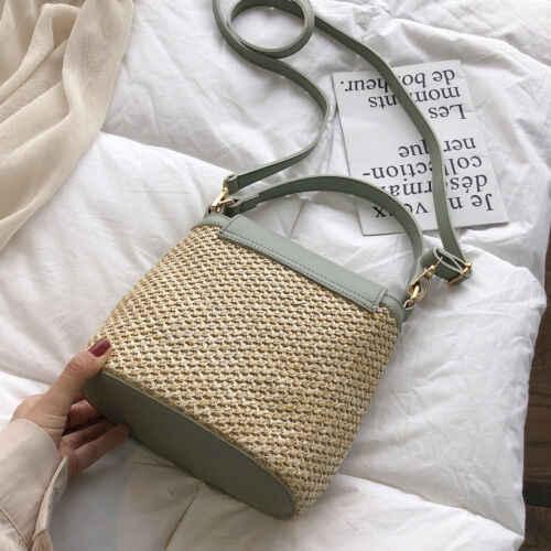 UK Mulheres Palha Saco de Tecido bolsa de Ombro Bolsa Crossbody handbag Mensageiro Da Praia do Verão