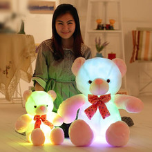 50cm Hight Colorful Led Teddy Bear Plush Toy Pillow Flashing Luminous Dolls Glowing Bear for Girls Gift(China)