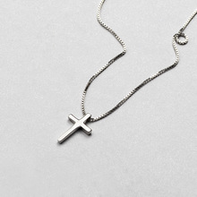 цена на 100% Real Pure 925 Sterling Silver Necklace For Women Simple Smooth Cross Pendant Necklaces Elegant Silver Necklace Chain