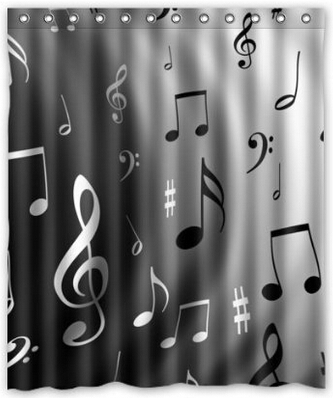 Music Notes Waterproof Polyester Fabric Shower Curtain 60