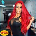Long Red Synthetic Lace Front Wig Good Quality Glueless High Density Synthetic Wigs Synthetic Lace Hair Wigs For Black Women