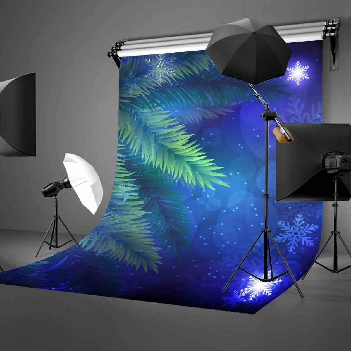 150x220cm Starry Night View Backdrop Falling Snow Green Tree Photography Background in Photo Studio Accessories from Consumer Electronics