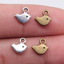 WYSIWYG 60pcs 8x7mm Antique Silver Antique Bronze Little Bird Charms Bird Charms Fit DIY Jewelry Making Small Bird Charms(China)
