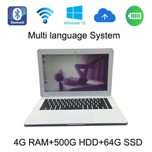2017 new style windows 10 system 13.3 inch White laptop 4G ram 500GB HDD and 64G SSD built in camera notebook