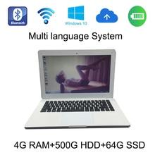 Новинка 2017 года, стильное Windows 10 системы 13.3 дюймов белый ноутбук 4 г ОЗУ 500 ГБ HDD и 64 г SSD Встроенная камера ноутбук