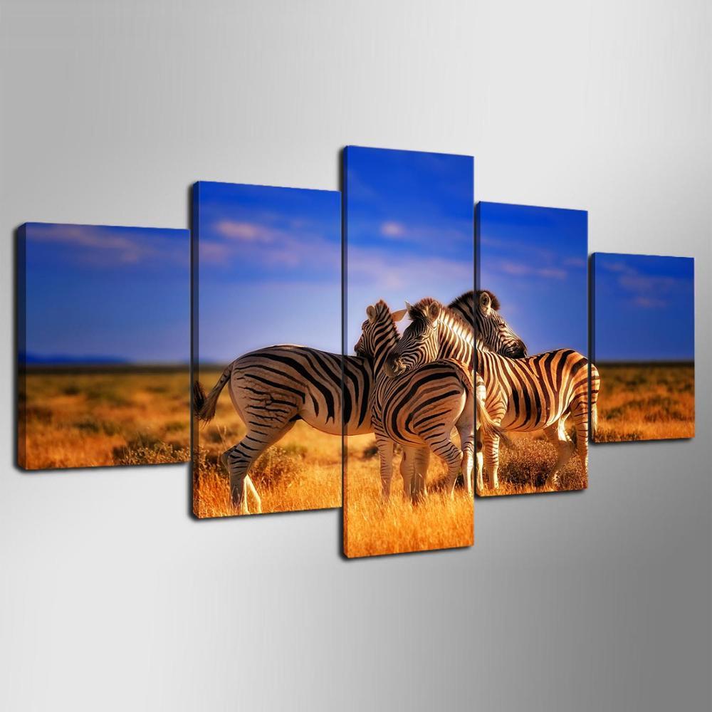 online get cheap zebra print bedroom decor aliexpress com 5 pieces hd canvas painting print animal zebra modular for modern decorative bedroom living room home wall art decor