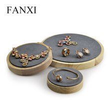 Fanxi  Beige & Dark Gray Solid Wood Jewelry Display Holder Pendant Ring Bangle Display Stand for Show case