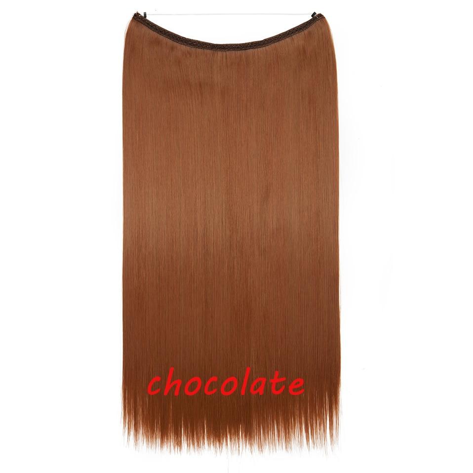 S-noilite 20 дюймов невидимый провод без заколки для волос Расширения секретная Рыбная линия шиньоны шелковистые прямые настоящие натуральные синтетические - Цвет: 30 mix 130