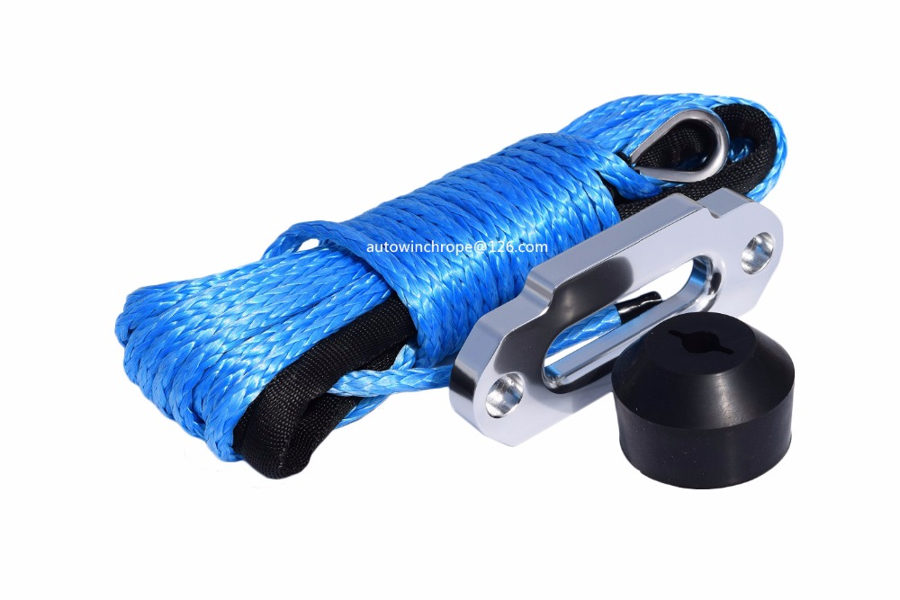 Blue 6mm*15m Synthetic Winch Rope with Hawse Fairlead and Winch Stopper,ATV Winch Line,ATV Winch Rope for all terrain vehicle