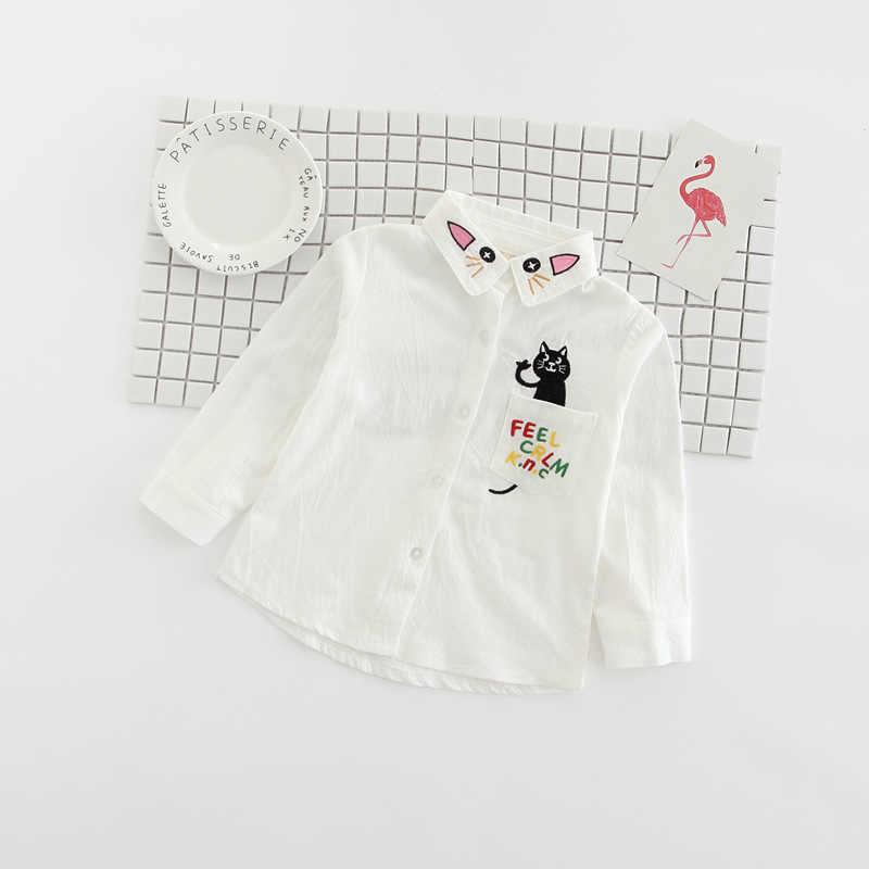 YAUAMDB 子供シャツ 2018 3-9Y 春秋のブラウスボタン服の漫画の猫かわいいファッション子供服 Y33